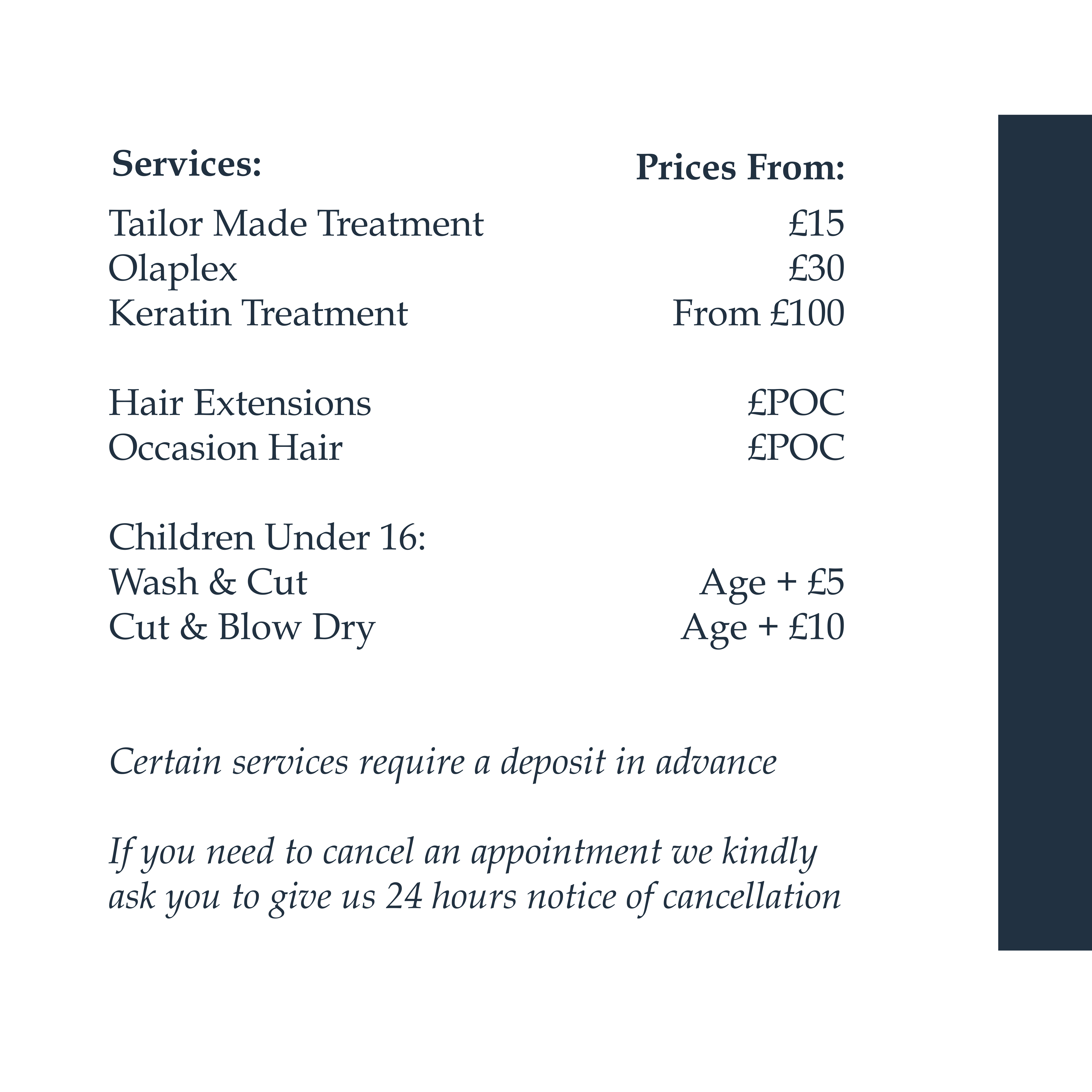 Tinted Price List Cont Tinted